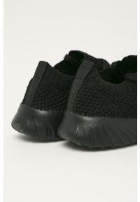 Czarne sneakersy Kappa na sznurówki, na obcasie, z cholewką