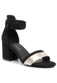 Czarne sandały Jenny Fairy casualowe, na co dzień, na średnim obcasie