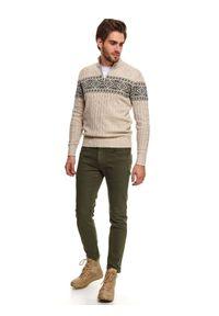 Beżowy sweter TOP SECRET ze stójką