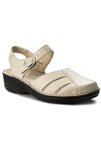 Beżowe sandały Berkemann na średnim obcasie, na obcasie