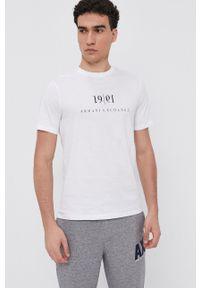 Armani Exchange - T-shirt bawełniany. Kolor: biały. Materiał: bawełna. Wzór: nadruk