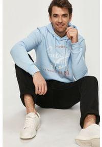 Niebieska bluza nierozpinana PRODUKT by Jack & Jones z kapturem, na co dzień, z nadrukiem