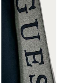Niebieska bluza rozpinana Guess Jeans na co dzień, z aplikacjami, casualowa, z kapturem