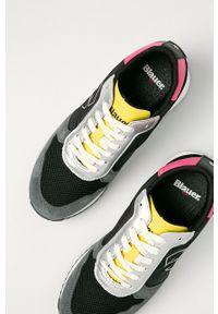 Czarne sneakersy Blauer z okrągłym noskiem, na średnim obcasie, z cholewką, na sznurówki