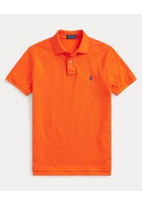 Ralph Lauren - RALPH LAUREN - Pomarańczowy t-shirt polo Classic Fit. Typ kołnierza: polo. Kolor: pomarańczowy. Materiał: bawełna. Wzór: haft #4