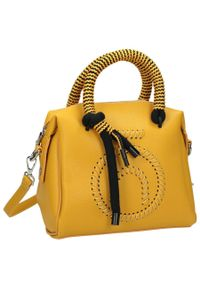 Nobo - Torebka damska kuferek żółta NOBO NBAG-I4460-C002. Kolor: żółty. Wzór: aplikacja, kolorowy. Materiał: skórzane