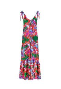 COSEL - Wzorzysta sukienka maxi Antigua. Kolor: czerwony. Materiał: materiał. Długość rękawa: na ramiączkach. Typ sukienki: rozkloszowane. Długość: maxi