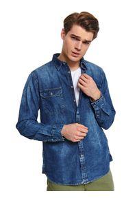 Niebieska koszula TOP SECRET na wiosnę, długa, w kolorowe wzory, casualowa