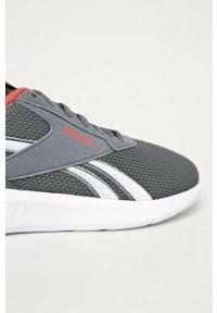 Szare buty sportowe Reebok z okrągłym noskiem, na sznurówki, z cholewką