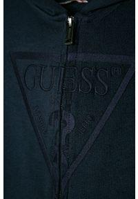 Niebieska bluza rozpinana Guess casualowa, z kapturem, na co dzień