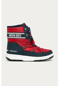 Czerwone śniegowce Moon Boot z okrągłym noskiem, z cholewką, na sznurówki