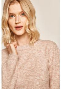 Różowy sweter medicine z okrągłym kołnierzem, na co dzień, casualowy