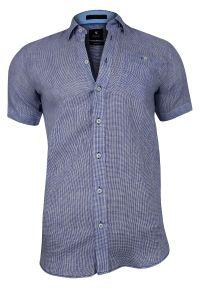 Niebieska elegancka koszula Rey Jay z krótkim rękawem, krótka, w kratkę