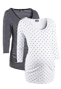 Shirt ciążowy z nadrukiem (2 szt.), rękawy 3/4, bawełna organiczna bonprix biały w groszki + w paski. Kolekcja: moda ciążowa. Kolor: biały. Materiał: bawełna. Wzór: grochy, paski, nadruk