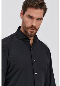 JOOP! - Joop! - Koszula. Typ kołnierza: kołnierzyk włoski. Kolor: czarny. Materiał: dzianina. Długość rękawa: długi rękaw. Długość: długie. Wzór: gładki