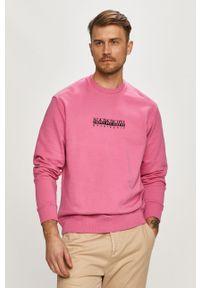 Różowa bluza nierozpinana Napapijri z nadrukiem, casualowa, bez kaptura, na co dzień