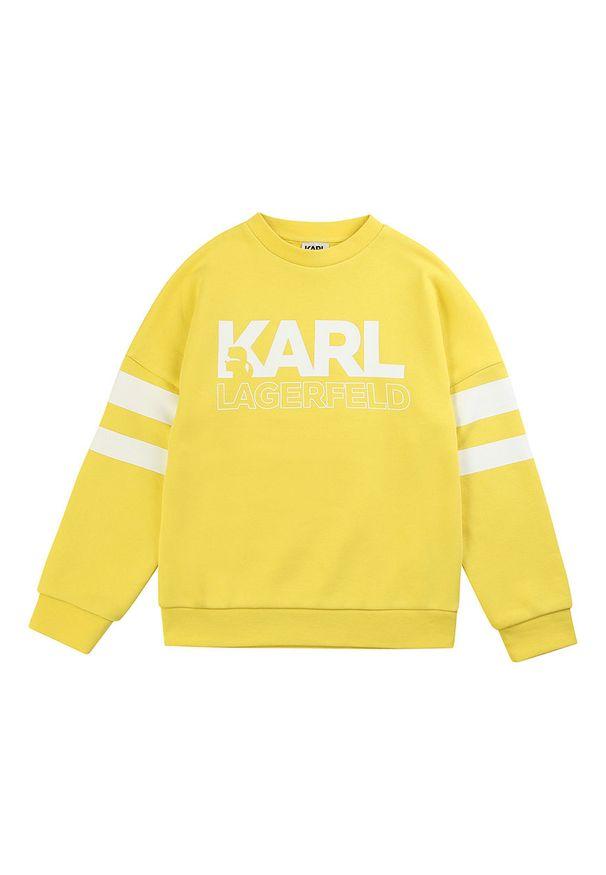 Żółta bluza Karl Lagerfeld bez kaptura, z nadrukiem