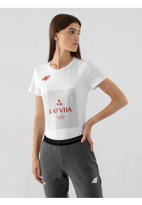 4f - Koszulka damska Łotwa - Tokio 2020. Kolor: biały. Materiał: bawełna, dzianina. Wzór: nadruk. Sezon: lato