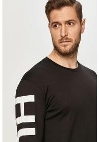 Czarna koszulka z długim rękawem Hugo na co dzień, casualowa, z nadrukiem