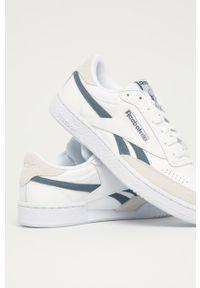 Białe sneakersy Reebok Classic z cholewką, na sznurówki, z okrągłym noskiem, Reebok Club