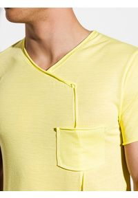 Ombre Clothing - T-shirt męski bez nadruku S1215 - żółty - XL. Kolor: żółty. Materiał: wiskoza, poliester, elastan