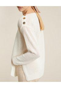 Luisa Spagnoli - LUISA SPAGNOLI - Sweter Cascate. Kolor: biały. Materiał: wiskoza, len. Długość rękawa: długi rękaw. Długość: długie