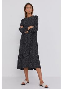 Answear Lab - Sukienka. Kolor: czarny. Materiał: tkanina. Długość rękawa: długi rękaw. Styl: wakacyjny