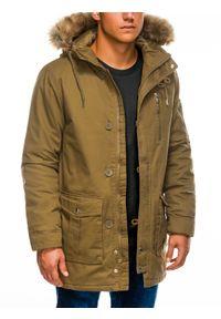 Oliwkowa kurtka Ombre Clothing z aplikacjami, na zimę, z kapturem