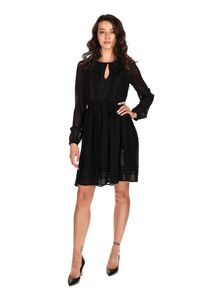 TwinSet - Tiulowa sukienka z żabotem Twinset. Typ kołnierza: z żabotem. Kolor: czarny. Materiał: tiul. Długość rękawa: na ramiączkach. Wzór: aplikacja, koronka. Typ sukienki: rozkloszowane. Styl: elegancki