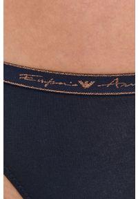 Emporio Armani Underwear - Emporio Armani - Stringi. Kolor: niebieski. Materiał: materiał