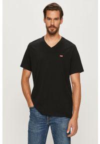 Czarny t-shirt Levi's® z okrągłym kołnierzem, na co dzień, w kolorowe wzory