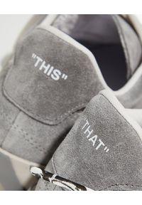 OFF-WHITE - Szare sneakersy ze strzałami. Kolor: szary. Materiał: guma, zamsz