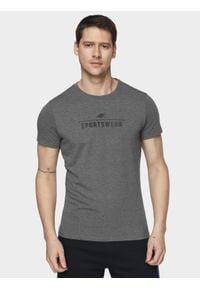 4f - T-shirt męski. Kolor: szary. Materiał: bawełna