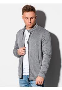 Ombre Clothing - Bluza męska rozpinana bez kaptura B1071 - szary melanż - XXL. Typ kołnierza: bez kaptura. Kolor: szary. Materiał: poliester, bawełna. Wzór: melanż