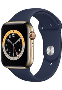 APPLE - Apple smartwatch Watch Series 6 Cellular, 44mm Gold Stainless Steel Case with Deep Navy Sport Band. Rodzaj zegarka: smartwatch. Kolor: złoty. Styl: sportowy