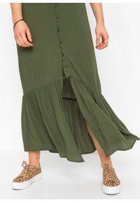 Zielona sukienka bonprix na lato, z dekoltem w serek, maxi