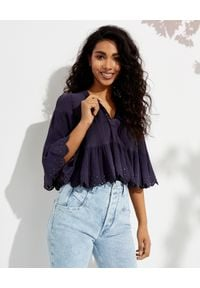 ISABEL MARANT - Krótka bluzka z nitami Lashay. Kolor: niebieski. Materiał: jedwab, bawełna. Długość: krótkie. Wzór: aplikacja