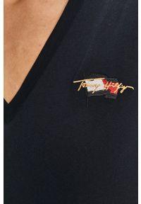 Niebieska bluzka TOMMY HILFIGER casualowa, gładkie, na co dzień