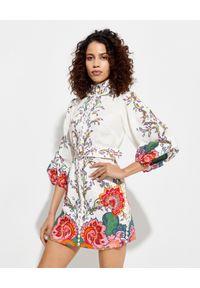 ZIMMERMANN - Lniana sukienka z kwiatowym nadrukiem. Okazja: na imprezę, na randkę. Kolor: biały. Materiał: len. Wzór: kwiaty, nadruk. Sezon: lato. Długość: mini