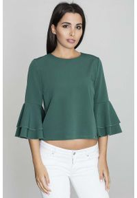 Figl - Zielona Krótka Bluzka z Rozkloszowanymi Rękawami. Kolor: zielony. Materiał: wiskoza, poliester. Długość: krótkie