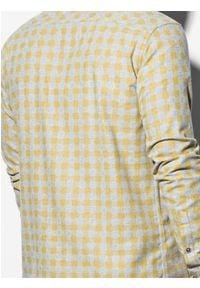 Ombre Clothing - Koszula męska w kratę z długim rękawem K509 - żółta - XXL. Kolor: żółty. Materiał: bawełna, poliester. Długość rękawa: długi rękaw. Długość: długie