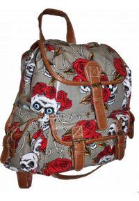 Adleys CB151 Plecak Lakierowany Czaszki Szkolny Turystyczny UNISEX. Materiał: lakier