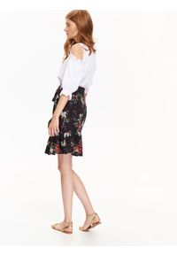 Czarna spódnica TROLL w kwiaty, do pracy, casualowa, na zimę #6