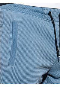Ombre Clothing - Krótkie spodenki męskie dresowe W294 - niebieskie - XXL. Kolor: niebieski. Materiał: dresówka. Długość: krótkie. Styl: sportowy, klasyczny