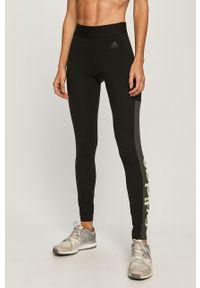 Czarne legginsy Adidas z nadrukiem
