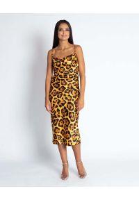 Dursi - Żółta Midi Sukienka w Zwierzęcy Wzór na Ramiączkach. Kolor: żółty. Materiał: poliester. Długość rękawa: na ramiączkach. Wzór: motyw zwierzęcy. Długość: midi