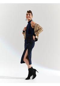 Niebieska spódnica TOP SECRET elegancka, w kolorowe wzory