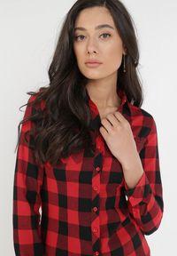 Born2be - Czarno-Czerwona Koszula Lisixa. Kolor: czarny. Materiał: jeans