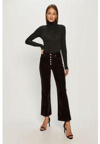 Brązowe spodnie materiałowe TOMMY HILFIGER z podwyższonym stanem