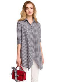 MOE - Asymetryczna Luźna Koszula w Drobną Kratkę. Materiał: poliester, wiskoza, elastan. Wzór: kratka